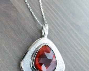 Fine Jewelry, Garnet Necklace, Rose-cut Hessonite Garnet, January Birthstone, Garnet Jewelry, Mother's Day Gift, For Mom, Free Shipping