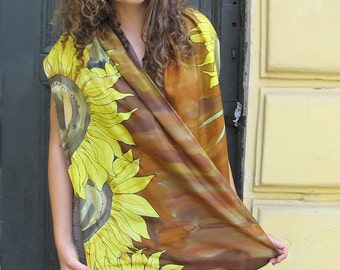 Hand painted silk scarf- Sunflowers scarf- Fall fashion, Floral shawl, Silk shawl wrap, Silk Scarf painted in earthy ocher and yellow KA17