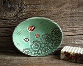 Oval Soap Dish in Jade Green with Single Red Rose - Pottery Soap dish - by DirtKicker Pottery