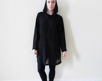 Sheer Black Pullover Hoodie