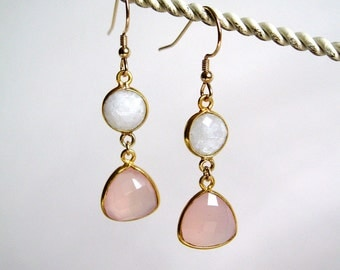 Moonstone and pink chalcedony dangle gemstone earrings 14k gold filled wires