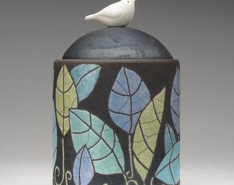 Ceramic jar, Bird with leaves, ceramic Raku Fired Jar, handmade ,home decor