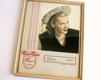 Vintage Framed Advertisement Fashion Department Store Movie Modes 20th Century Fox 1940s Bedroom Decor