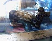vintage dog figurine pen and letter holder black dachshund dog