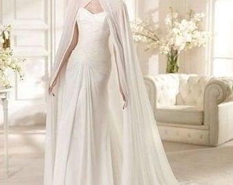 Wedding chiffon sheer cape ivory bridal long cloak