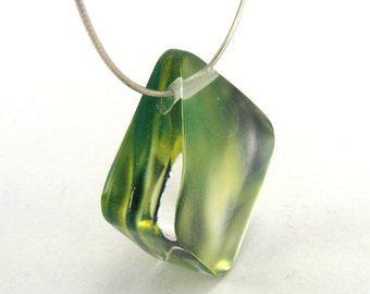 Green Leaf Pendant, abstract design, green and black necklace