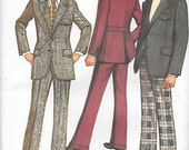 Simplicity 5161 UNCUT 1970s Mens Suit Vintage Sewing Pattern Chest 38 Cuffed Pants Lined Jacket