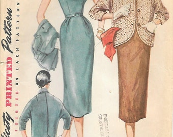 Simplicity 4765 1950s Slim Fitting Dress with Sack Type Jacket Vintage Sewing Pattern Size 12