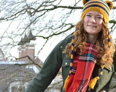 Knitted Striped Hat with Cat Ears and Ear flaps - Mustard yellow and Navy blue