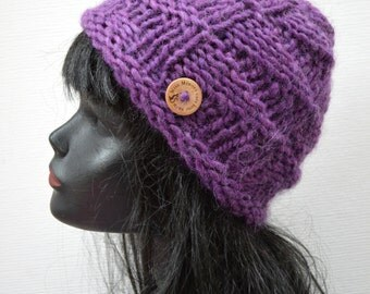 Hand Knit Chunky Warm Wool Winter Women's Hat  - Purple Plum - The Nordic Island Beanie - Winter Fashion Accessory