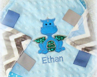 Free Personalization Included!  Unique Blue White Gray Chevron Minky Lovey with Dragon Applique, Baby Boy Security Blanket, Lovie lovy lovey