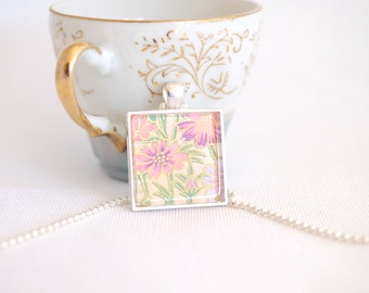 flower necklace, chiyogami paper jewelry, square pendant, floral necklace