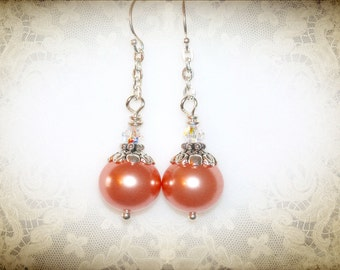 Peach Pearl Earrings. Bridesmaid & Bridal Jewelry. Swarovski Crystal Pearl.