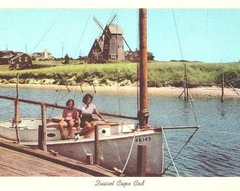 Vintage Cape Cod Postcard - The Herring River and Old Mill , West Harwich (Unused)