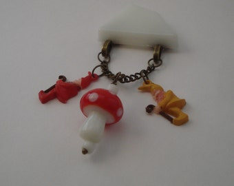 You Don't Even Gnome Me Fakelite Bakelite Style Brooch Midcentury Inspired Fun by Red Hot Kitten