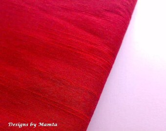 Lust Red Dupioni Fabric By The Yard, Indian Silk Fabric, Bridal Silk Fabric, Designer Silk Fabrics, Silk Dupioni Fabric, Indian Fabrics