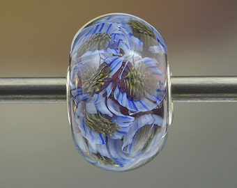 WISTERIA FLOWER CROWN - Sra Lampwork Glass Universal Charm Bead - encased floral murrini strlng silver core - periwinkle blue violet purple