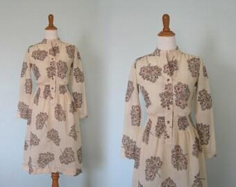 Gorgeous Autumn Paisley Leaf Dress - Vintage 70s Sheer Gauze Dress - Vintage 1970s Dress S M