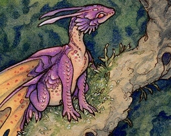 "Limited Edition Archival ACEO Print ""Pink Fairy"" cute dragon fantasy nature art"