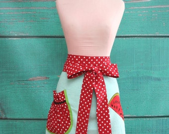 Towel Apron - Hostess Apron - Blue Watermelons - Blue, Red, & Green