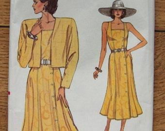 vintage 80s Vogue pattern 9638 misses jacket and dress sz 8-10-12 uncut