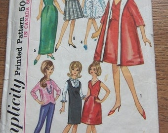 "vintage 1964 simplicity pattern  5731 11 1/2"" Fashion Doll Clothes toy children girl"