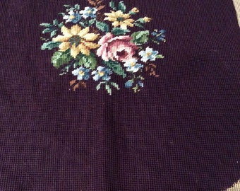 Vintage Needlepoint Seat Cushion Cover - Needlepoint Cutter for Projects - Eggplant Purple and Multi Floral - Floral Needlepoint
