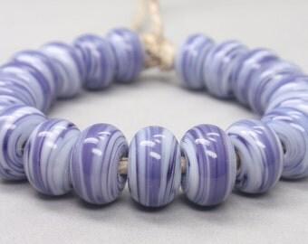 White Swirls  - 20 Handmade Lampwork Beads SW 207