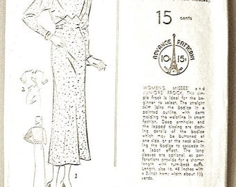 1930s Vintage Sewing Pattern Advance 1115 1930s Women's Dress Pattern Asymmetrical  Bust 34 Hip 37 inches