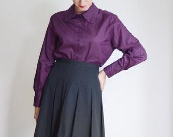 1960s Purple Button Up Blouse - M