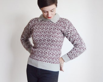 1980s Grey and Maroon Sweater - S