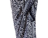 PLUS SIZE Womens Clothing Beach Sarong Pareo Wrap Swimsuit CoverUp Navy Blue & White Sarong Skirt or Dress Batik Sarong Extra Long Plus Size