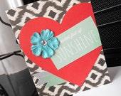 Pocket Full of Sunshine Card - Red Heart Mint Green Flower