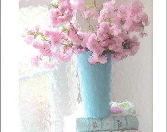 Cherry Blossoms Print, Shabby Chic Decor, Pink Blossoms Floral Prints, Pink Flower Prints, Cherry Blossoms Photos, Baby Girl Nursery Prints