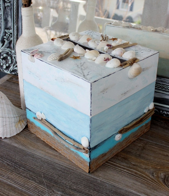 Beach Theme Wedding / Bridal Shower Card Box with Driftwood , One of a ...
