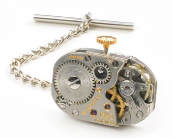 Steampunk Vintage Watch Movement Tie Tack Pin Chain Clip