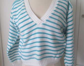 Striped Cropped Sweater, Teal and White, Petite Chunky Tight Knit Sweater, Lightweight Sweater, Plus Size, XL XXL Size 18 20