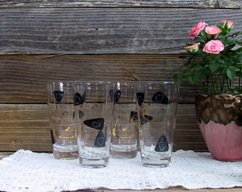 Set of Four Vintage...Retro Black and Gold Decorated Glasses