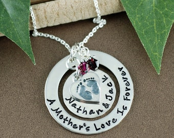 Personalized Mommy Necklace, A Mother's Love is Forever, Hand Stamped Jewelry, Family Necklace, Name Necklace, Mommy Jewelry, Baby Feet