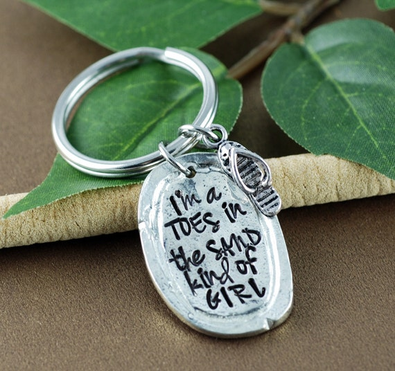 I'm a Toes in the Sand Kind of Girl, Flip Flop Keychain, HandStamped Keychain, Beach Jewelry, Summer Vacation, Beach Lover,  Beach Keychain