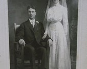 Antique Matted Cabinet Photo-Bride,Groom,Wedding Dress,Veil,Glasses-Delphi,IN