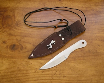 "5.5"" Knife with silver deer charm, Brown oil tan leather neck sheath, can also be worn on your belt, adjustable cord is 30"" long"