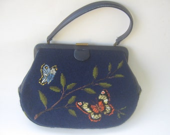 Vintage Needlepoint Butterfly Design Handbag Purse