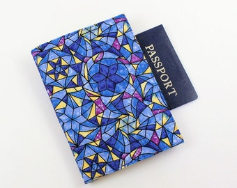 Passport Cover with Velcro Closure, Blue and Yellow Stained Glass Fabric