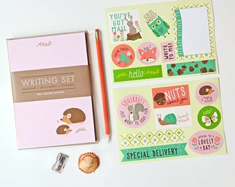 kids stationery,  stationery for girls, kids writing, notepad set, pen pal, hedgehog, woodland,  stickers, mailing labels
