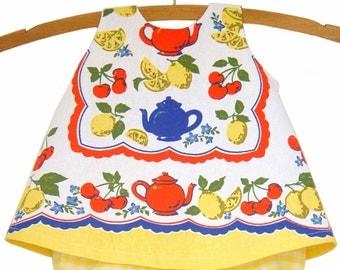 Baby / Pinafore / Handmade / Dress - Sunny Tea Time Tea Towel Pinafore