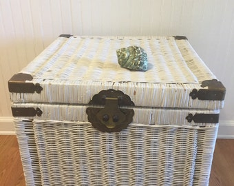 WHITE WICKER TRUNK with Brass Accents Night Stand, End Table, Boho Decor, Wicker Storage at A Vintage Revo
