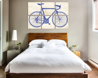EXTRA Large Vintage Bicycle Print - Large Road Bike Artwork - Great Gift Idea for Him 32x48