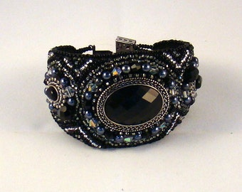 Black Hole Bead Embroidered Cuff OOAK, Angelque Creations Original Design, black, sliver