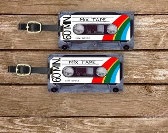 Personalized Luggage Tags Retro Rainbow Mixtape Version 2 Cassette Tape Metal Tag Set Personalized Custom
